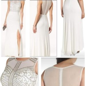 Morgan & Co. Beaded Sheer Back Gown